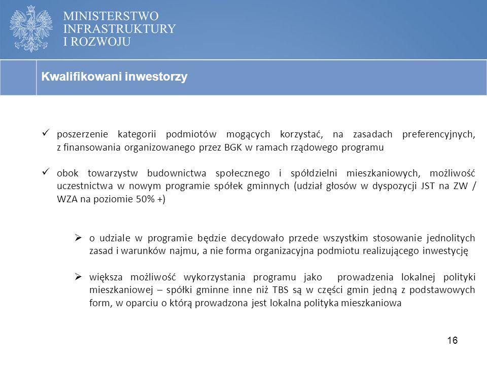 16 Kwalifikowani inwestorzy poszerzenie kategorii podmiotów mogących korzystać, na zasadach preferencyjnych, z finansowania organizowanego przez BGK w