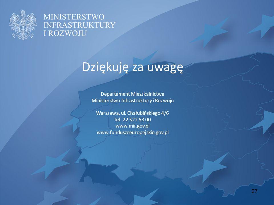 Dziękuję za uwagę Departament Mieszkalnictwa Ministerstwo Infrastruktury i Rozwoju Warszawa, ul. Chałubińskiego 4/6 tel. 22 522 53 00 www.mir.gov.pl w