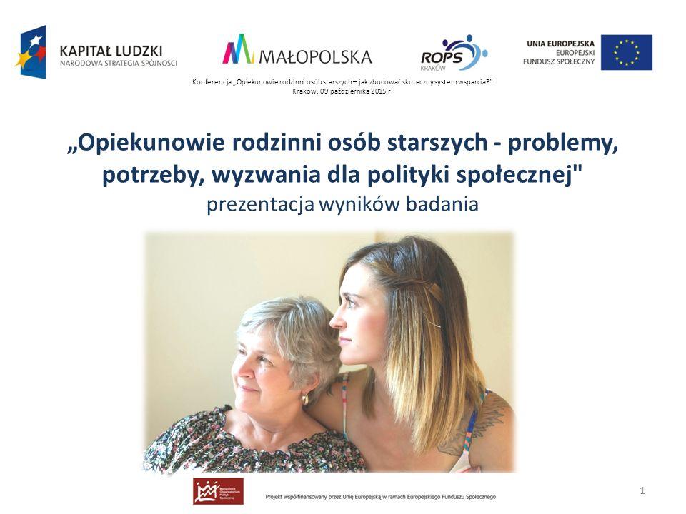 """""""Opiekunowie rodzinni osób starszych - problemy, potrzeby, wyzwania dla polityki społecznej"""