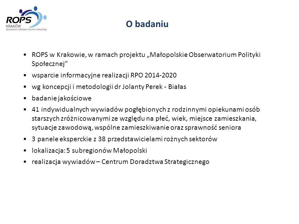 Rekomendacje Dobre wykorzystanie środków Europejskiego Funduszu Społecznego w perspektywie roku 2020 - Uwrażliwianie potencjalnych beneficjentów na potrzeby tej grupy Małopolan, w tym poprzez promocję wyników badań, szczególnie tych zrealizowanych w Małopolsce Działania kierowane do pracowników pomocy społecznej uwrażliwiające na trudną sytuację osób opiekujących się seniorami w domach - (Regionalna Platforma Współpracy, internet, konferencje, portal ops.pl.) Działania uwrażliwiające pracowników służby zdrowia na trudną sytuację osób opiekujących się seniorami w domach połączone z akcją informacyjną, ze szczególnym uwzględnieniem lekarzy rodzinnych (np.