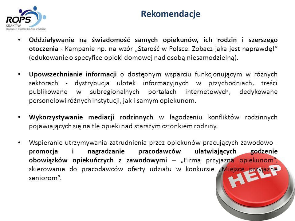 """Rekomendacje Oddziaływanie na świadomość samych opiekunów, ich rodzin i szerszego otoczenia - Kampanie np. na wzór """"Starość w Polsce. Zobacz jaka jest"""
