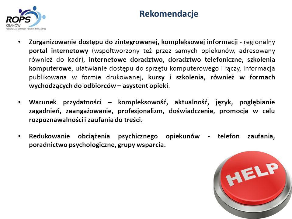 Zorganizowanie dostępu do zintegrowanej, kompleksowej informacji - regionalny portal internetowy (współtworzony też przez samych opiekunów, adresowany