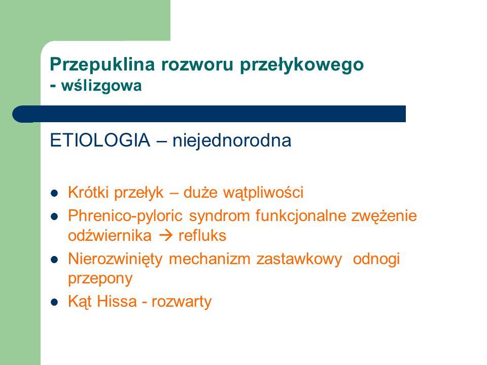 Przepuklina rozworu przełykowego - wślizgowa ETIOLOGIA – niejednorodna Krótki przełyk – duże wątpliwości Phrenico-pyloric syndrom funkcjonalne zwężenie odźwiernika  refluks Nierozwinięty mechanizm zastawkowy odnogi przepony Kąt Hissa - rozwarty
