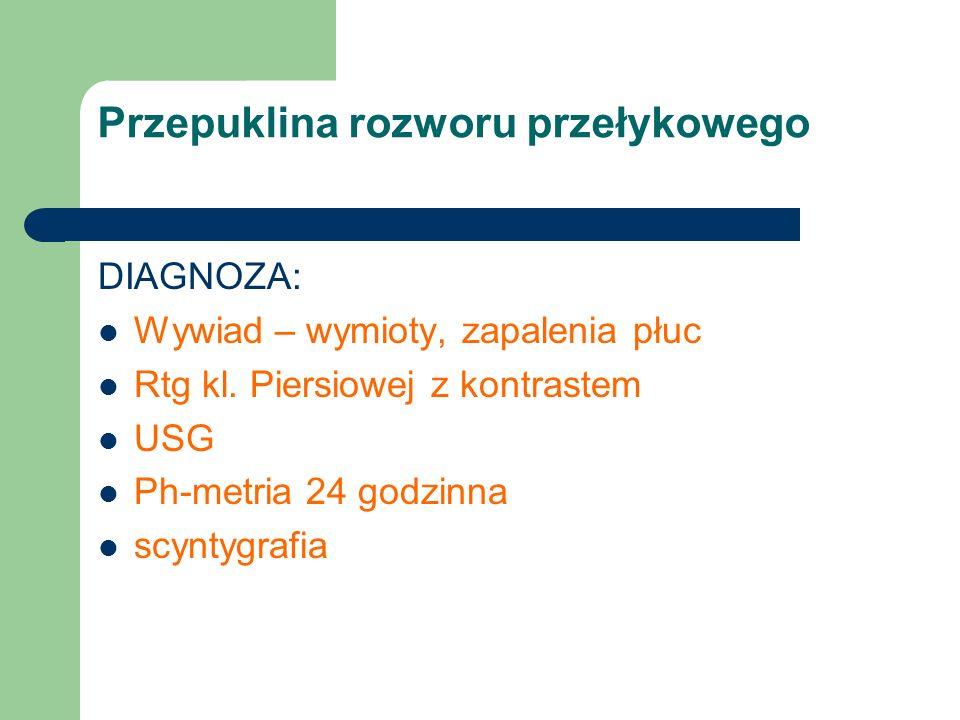 Przepuklina rozworu przełykowego DIAGNOZA: Wywiad – wymioty, zapalenia płuc Rtg kl. Piersiowej z kontrastem USG Ph-metria 24 godzinna scyntygrafia