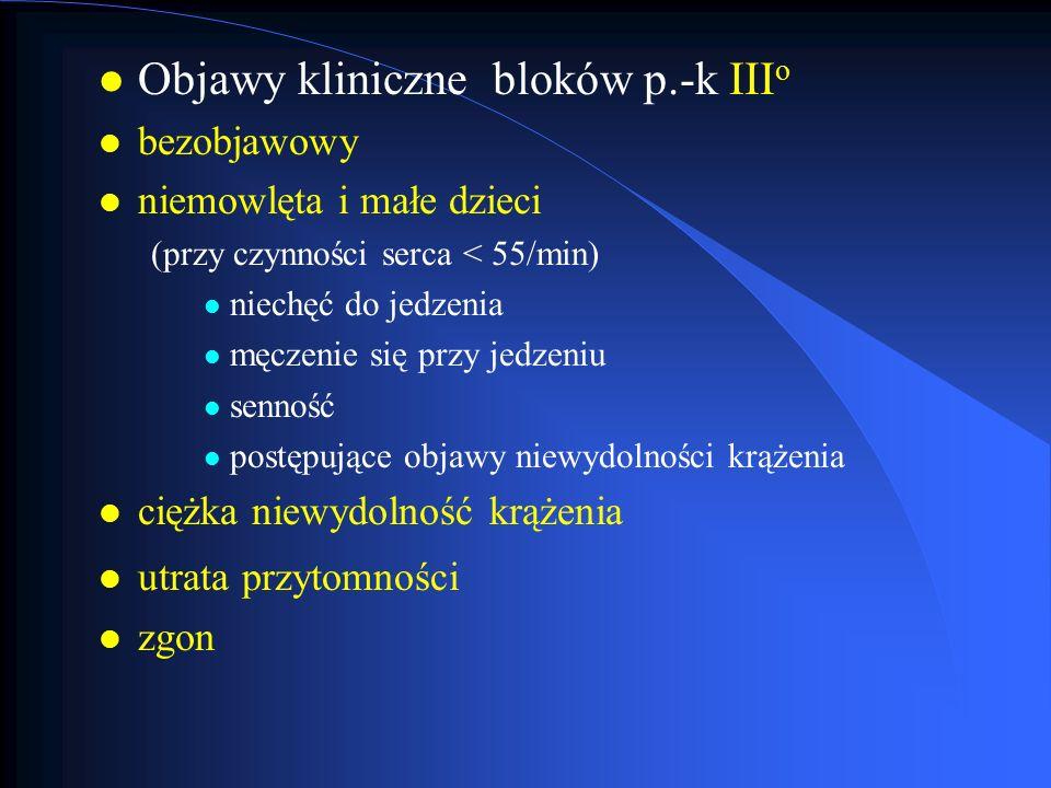 l Objawy kliniczne bloków p.-k III o l bezobjawowy l niemowlęta i małe dzieci (przy czynności serca < 55/min) l niechęć do jedzenia l męczenie się prz