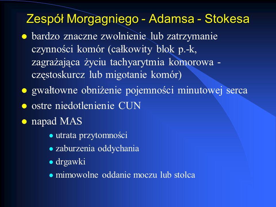 Zespół Morgagniego - Adamsa - Stokesa l bardzo znaczne zwolnienie lub zatrzymanie czynności komór (całkowity blok p.-k, zagrażająca życiu tachyarytmia