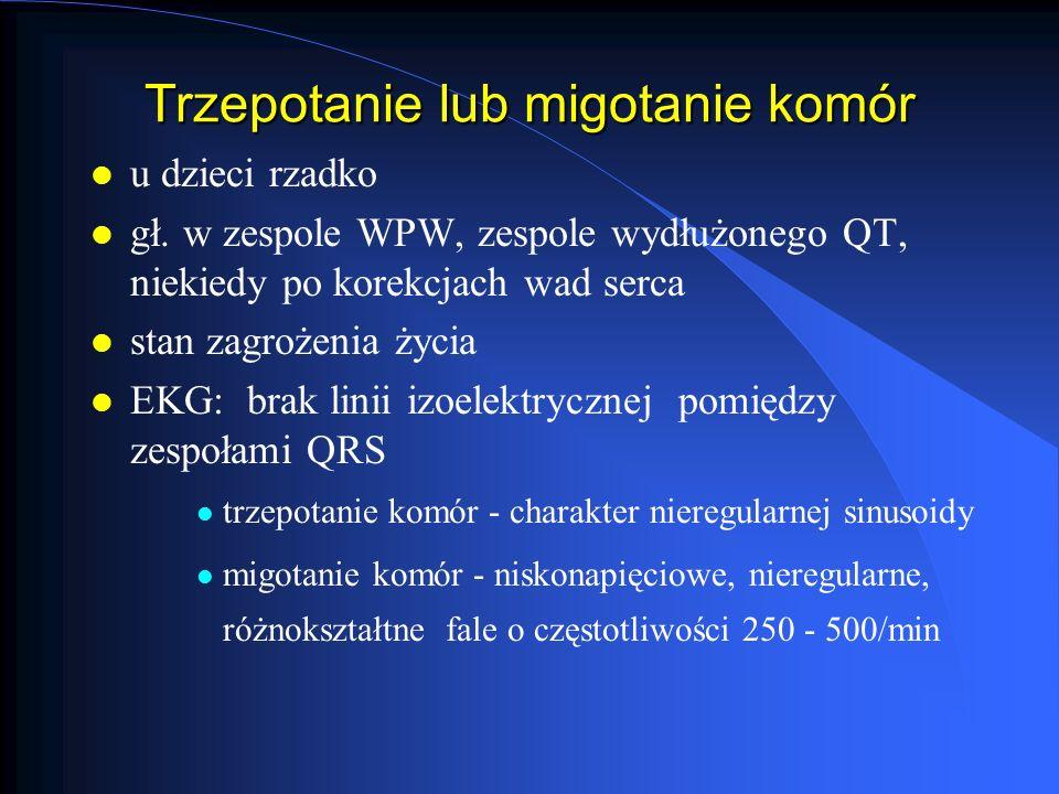 Trzepotanie lub migotanie komór l u dzieci rzadko l gł. w zespole WPW, zespole wydłużonego QT, niekiedy po korekcjach wad serca l stan zagrożenia życi