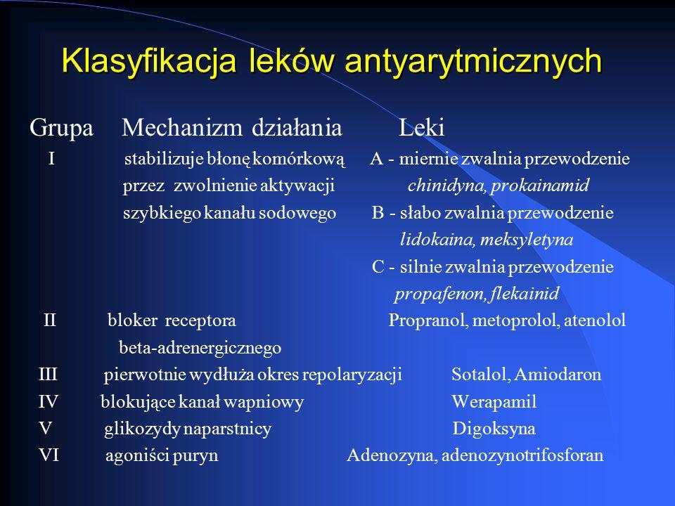 Klasyfikacja leków antyarytmicznych Grupa Mechanizm działania Leki I stabilizuje błonę komórkową A - miernie zwalnia przewodzenie przez zwolnienie akt