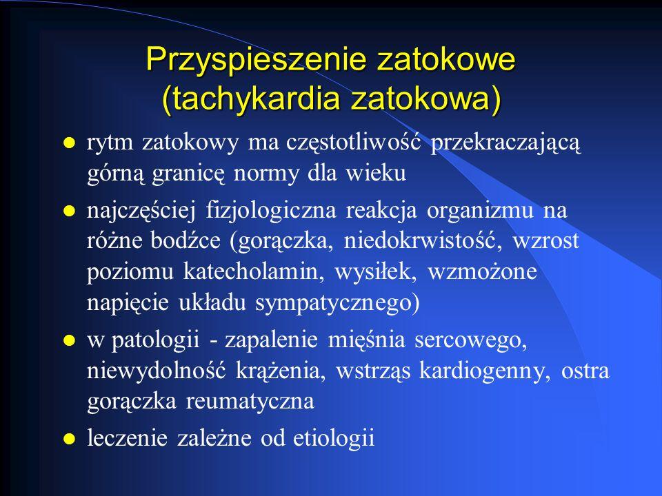 Zespoły preekscytacji obszar serca zostaje pobudzony wcześniej niż to wynika z przebiegu pobudzenia przez prawidłowy układ przewodzący Zespoły preekscytacji obszar serca zostaje pobudzony wcześniej niż to wynika z przebiegu pobudzenia przez prawidłowy układ przewodzący l zespół preekscytacji typu Lowna-Ganonga-Levin, a (z.LGL) l zespół preekscytacji typu Mahaima l zespół preekscytacji typu Wolfa-Parkinsona-White, a (z.WPW)
