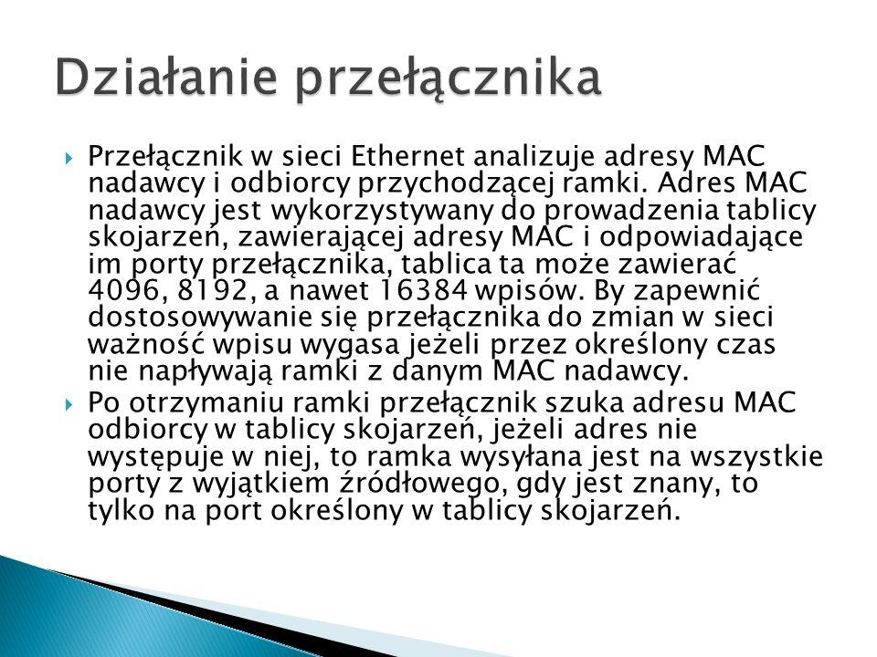  Przełącznik w sieci Ethernet analizuje adresy MAC nadawcy i odbiorcy przychodzącej ramki. Adres MAC nadawcy jest wykorzystywany do prowadzenia tabli