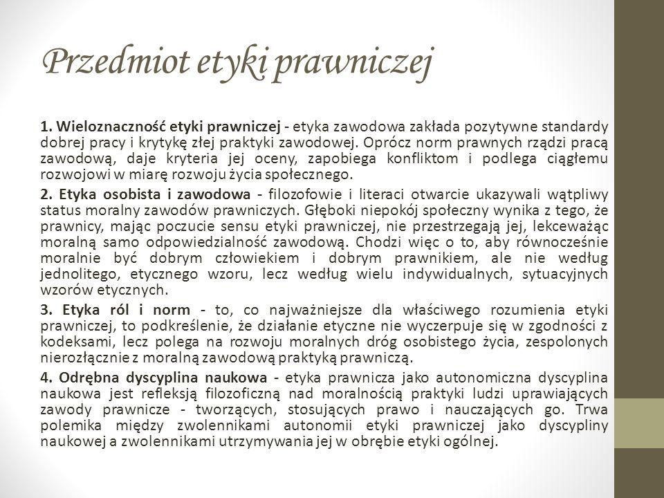 Przedmiot etyki prawniczej 1.