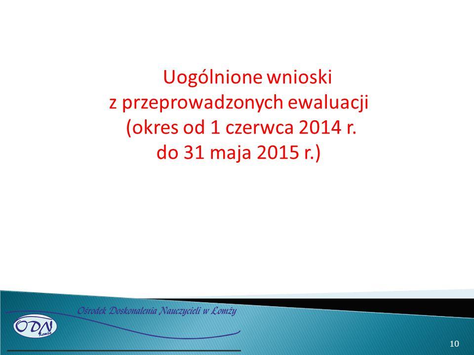 10 Uogólnione wnioski z przeprowadzonych ewaluacji (okres od 1 czerwca 2014 r. do 31 maja 2015 r.)