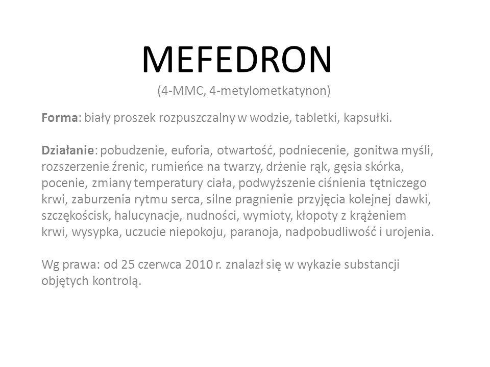 MEFEDRON Forma: biały proszek rozpuszczalny w wodzie, tabletki, kapsułki.