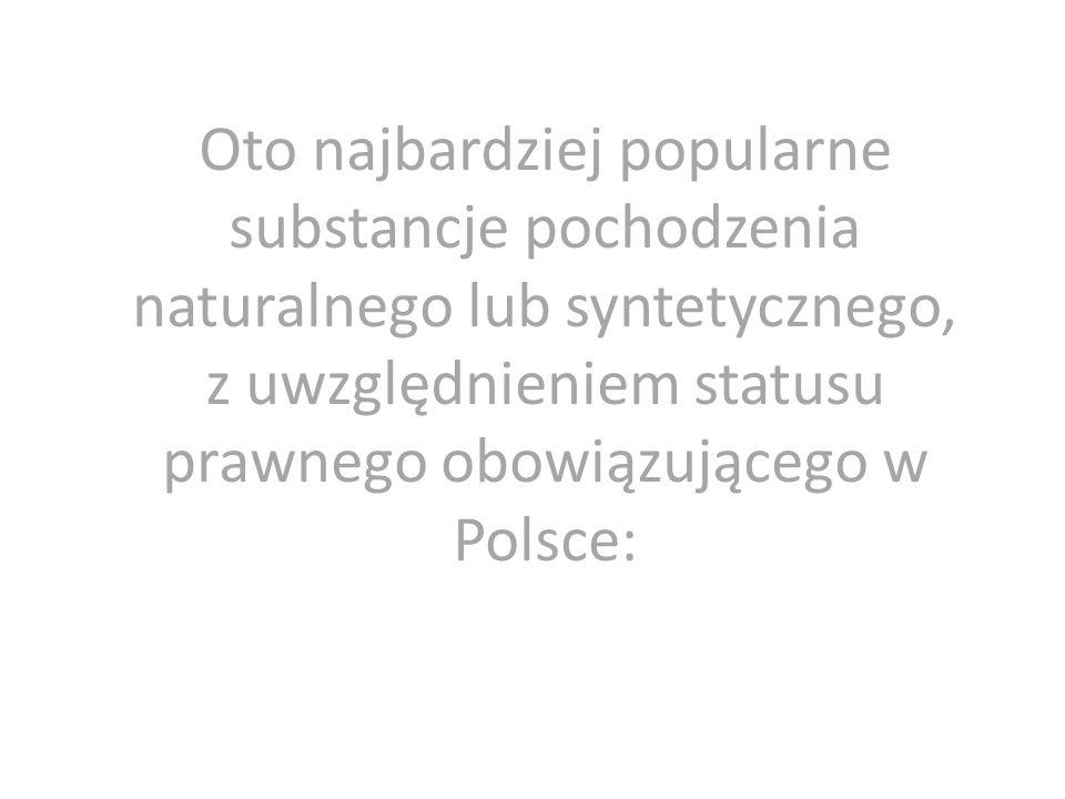 Oto najbardziej popularne substancje pochodzenia naturalnego lub syntetycznego, z uwzględnieniem statusu prawnego obowiązującego w Polsce: