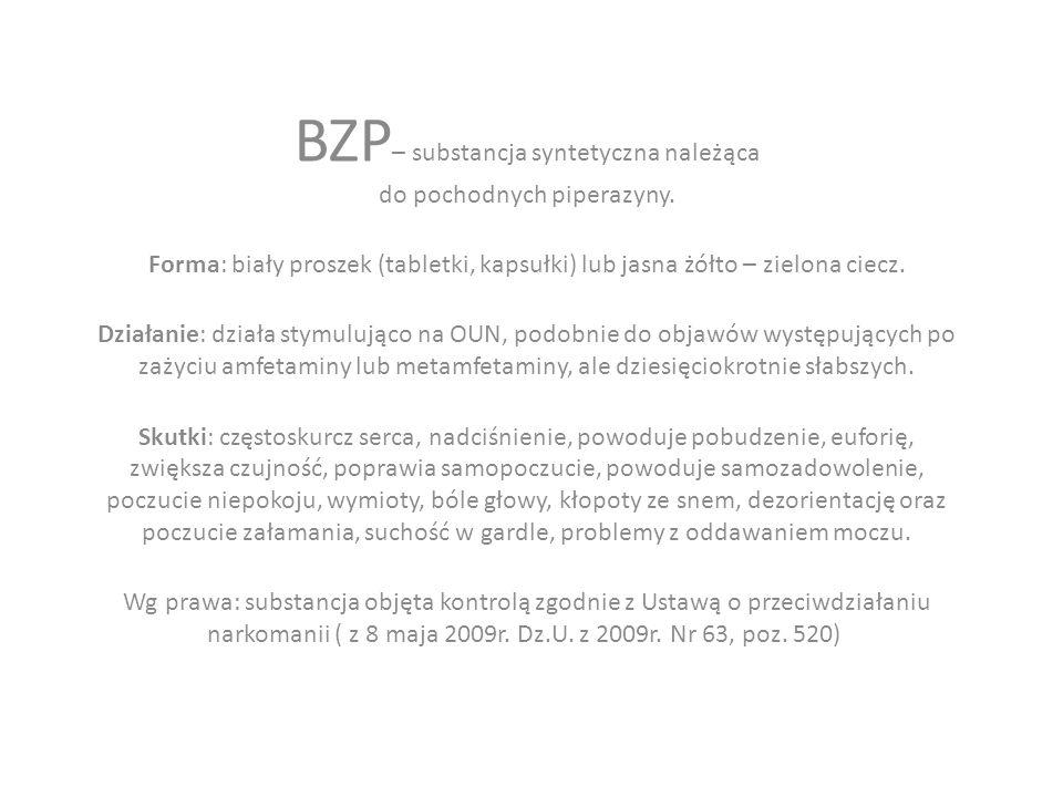 BZP – substancja syntetyczna należąca do pochodnych piperazyny.