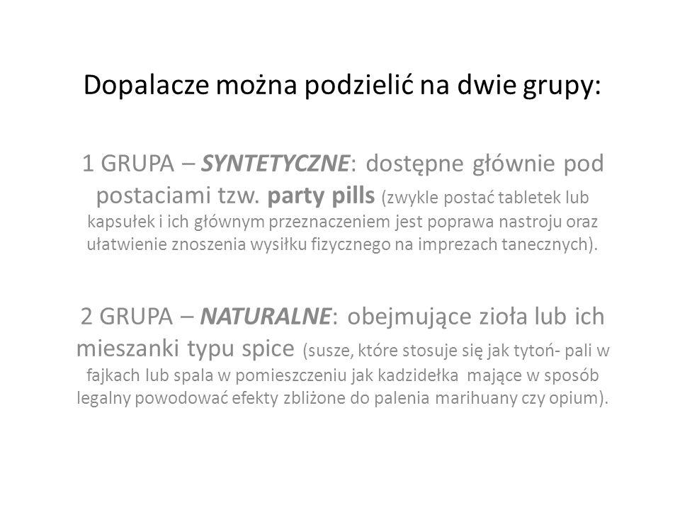 Dopalacze można podzielić na dwie grupy: 1 GRUPA – SYNTETYCZNE: dostępne głównie pod postaciami tzw.