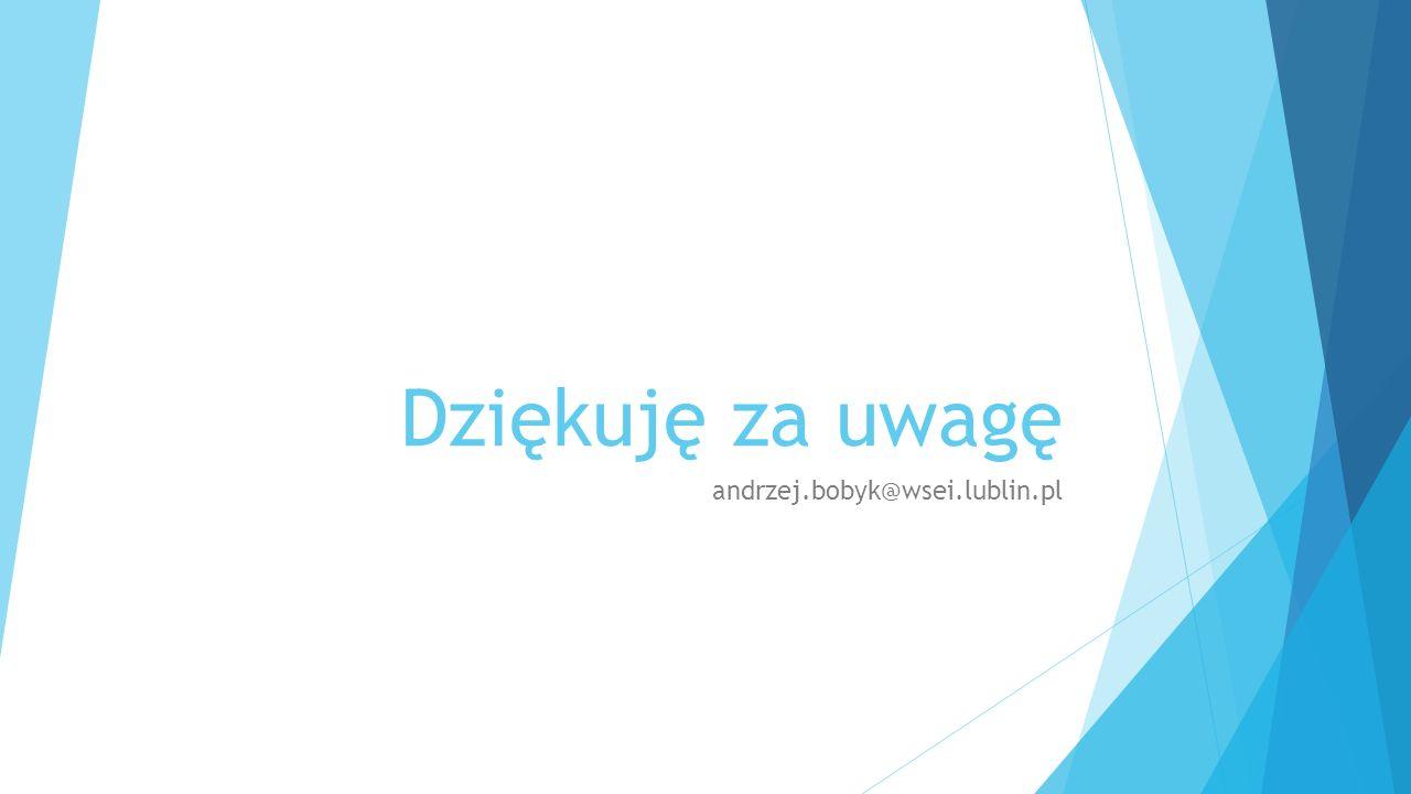 Dziękuję za uwagę andrzej.bobyk@wsei.lublin.pl