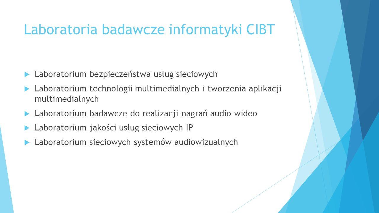Laboratoria badawcze informatyki CIBT  Laboratorium bezpieczeństwa usług sieciowych  Laboratorium technologii multimedialnych i tworzenia aplikacji multimedialnych  Laboratorium badawcze do realizacji nagrań audio wideo  Laboratorium jakości usług sieciowych IP  Laboratorium sieciowych systemów audiowizualnych