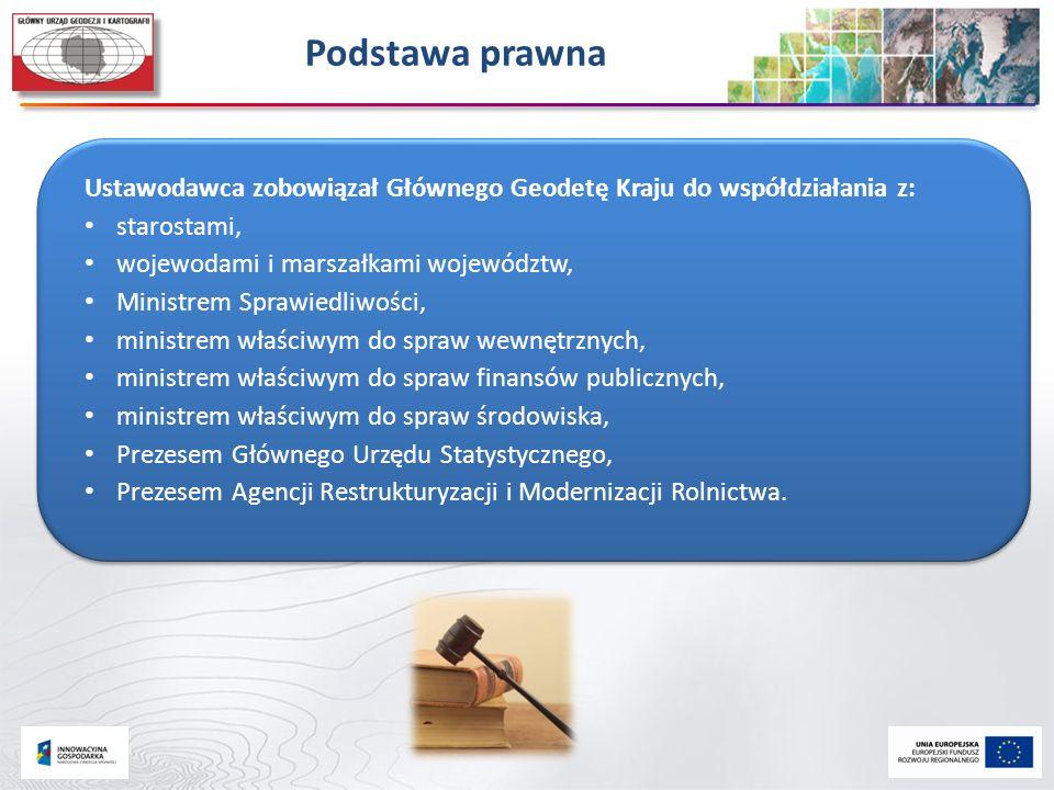 Podstawa prawna Ustawodawca zobowiązał Głównego Geodetę Kraju do współdziałania z: starostami, wojewodami i marszałkami województw, Ministrem Sprawied