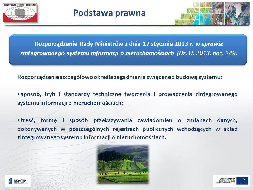 Podstawa prawna Rozporządzenie Rady Ministrów z dnia 17 stycznia 2013 r. w sprawie zintegrowanego systemu informacji o nieruchomościach (Dz. U. 2013,