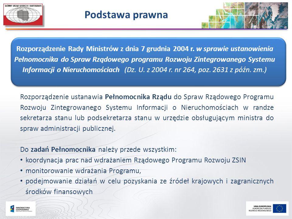 Podstawa prawna Rozporządzenie Rady Ministrów z dnia 7 grudnia 2004 r. w sprawie ustanowienia Pełnomocnika do Spraw Rządowego programu Rozwoju Zintegr