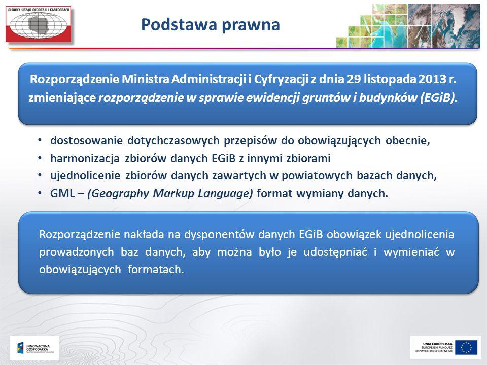 Podstawa prawna Rozporządzenie Ministra Administracji i Cyfryzacji z dnia 29 listopada 2013 r. zmieniające rozporządzenie w sprawie ewidencji gruntów