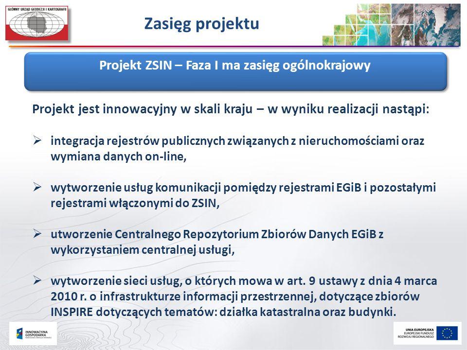 Zasięg projektu Projekt ZSIN – Faza I ma zasięg ogólnokrajowy Projekt jest innowacyjny w skali kraju – w wyniku realizacji nastąpi:  integracja rejes
