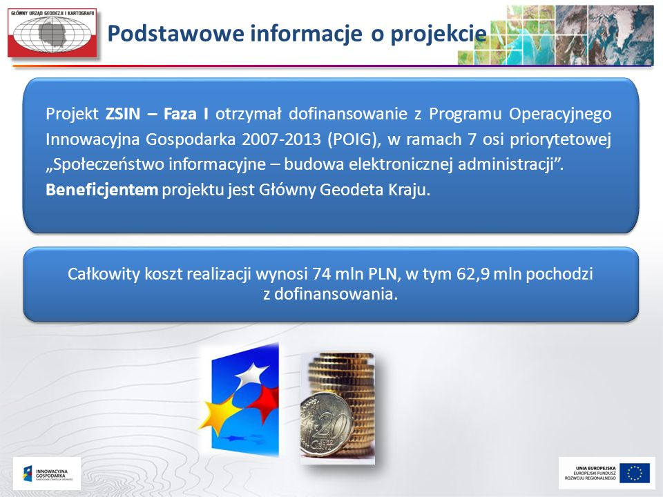 Całkowity koszt realizacji wynosi 74 mln PLN, w tym 62,9 mln pochodzi z dofinansowania. Podstawowe informacje o projekcie Projekt ZSIN – Faza I otrzym