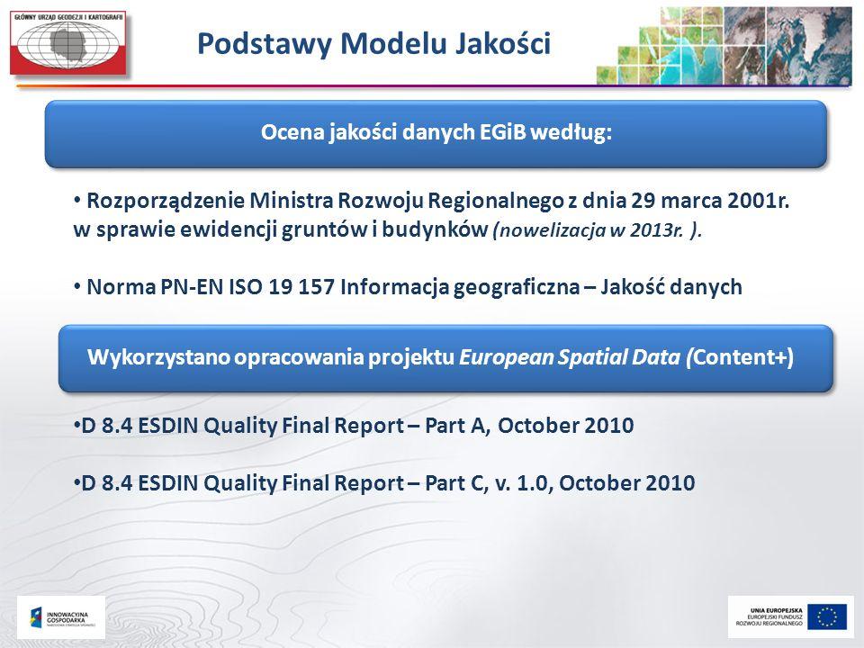 Podstawy Modelu Jakości Ocena jakości danych EGiB według: Rozporządzenie Ministra Rozwoju Regionalnego z dnia 29 marca 2001r. w sprawie ewidencji grun