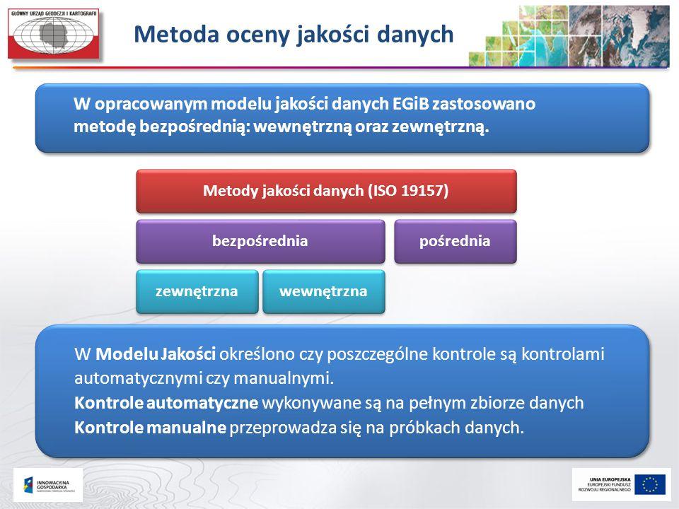 Metoda oceny jakości danych W opracowanym modelu jakości danych EGiB zastosowano metodę bezpośrednią: wewnętrzną oraz zewnętrzną. W Modelu Jakości okr