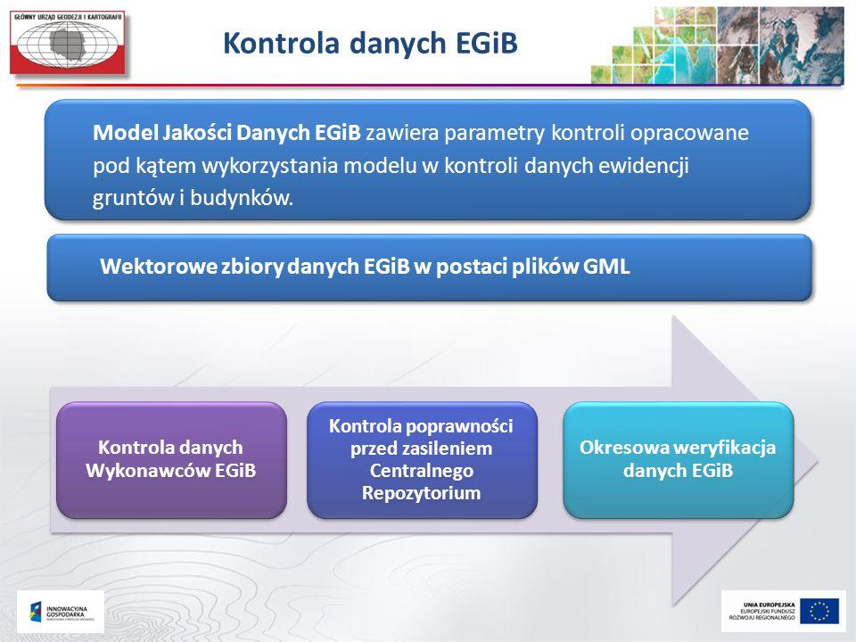 Kontrola danych EGiB Model Jakości Danych EGiB zawiera parametry kontroli opracowane pod kątem wykorzystania modelu w kontroli danych ewidencji gruntó