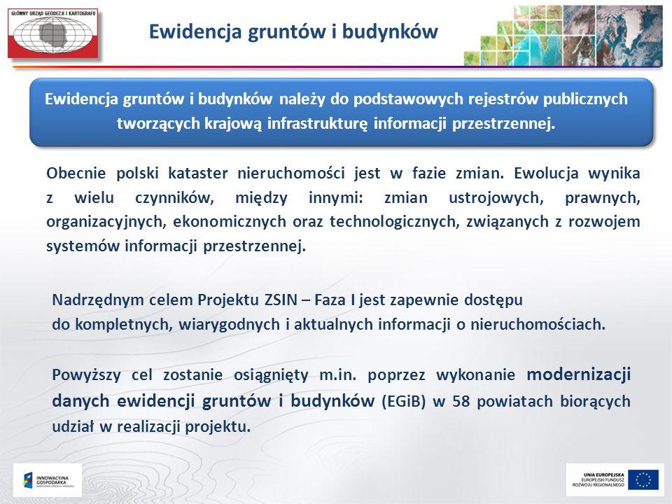 Ewidencja gruntów i budynków Obecnie polski kataster nieruchomości jest w fazie zmian. Ewolucja wynika z wielu czynników, między innymi: zmian ustrojo