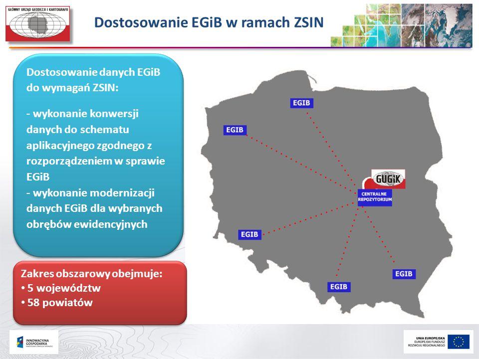 Dostosowanie EGiB w ramach ZSIN Zakres obszarowy obejmuje: 5 województw 58 powiatów Zakres obszarowy obejmuje: 5 województw 58 powiatów Dostosowanie d