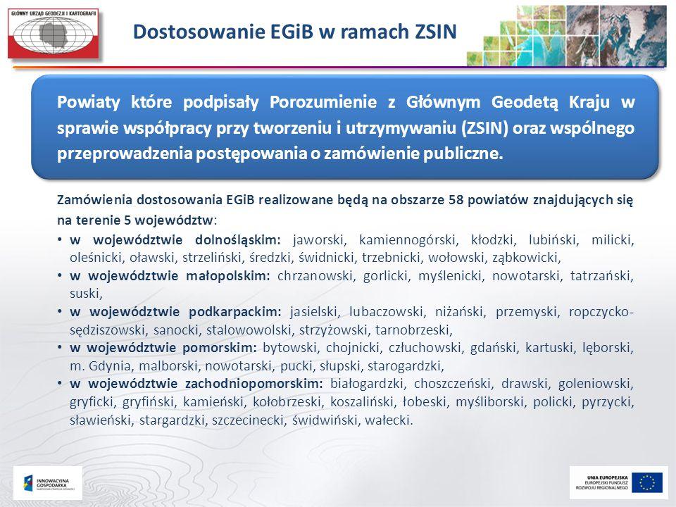 Dostosowanie EGiB w ramach ZSIN Powiaty które podpisały Porozumienie z Głównym Geodetą Kraju w sprawie współpracy przy tworzeniu i utrzymywaniu (ZSIN)