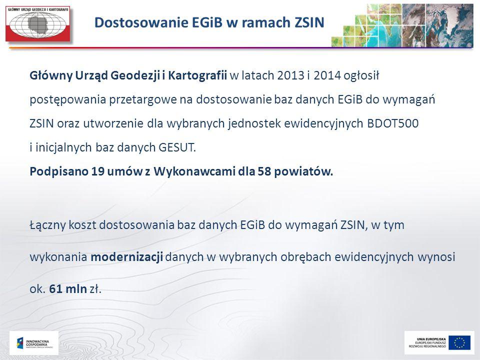 Dostosowanie EGiB w ramach ZSIN Główny Urząd Geodezji i Kartografii w latach 2013 i 2014 ogłosił postępowania przetargowe na dostosowanie baz danych E