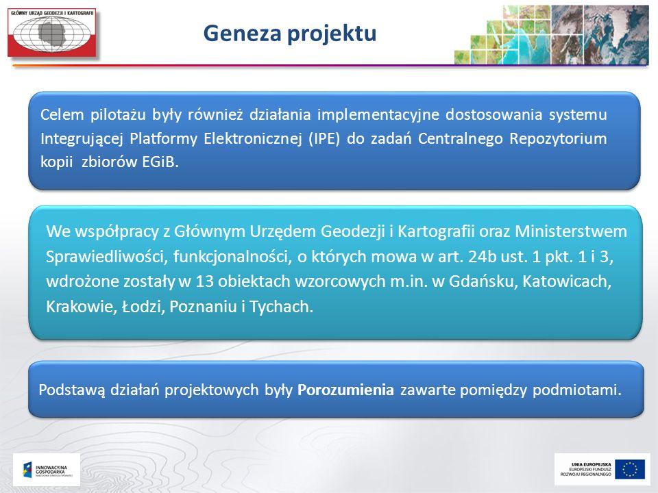 Geneza projektu Celem pilotażu były również działania implementacyjne dostosowania systemu Integrującej Platformy Elektronicznej (IPE) do zadań Centra