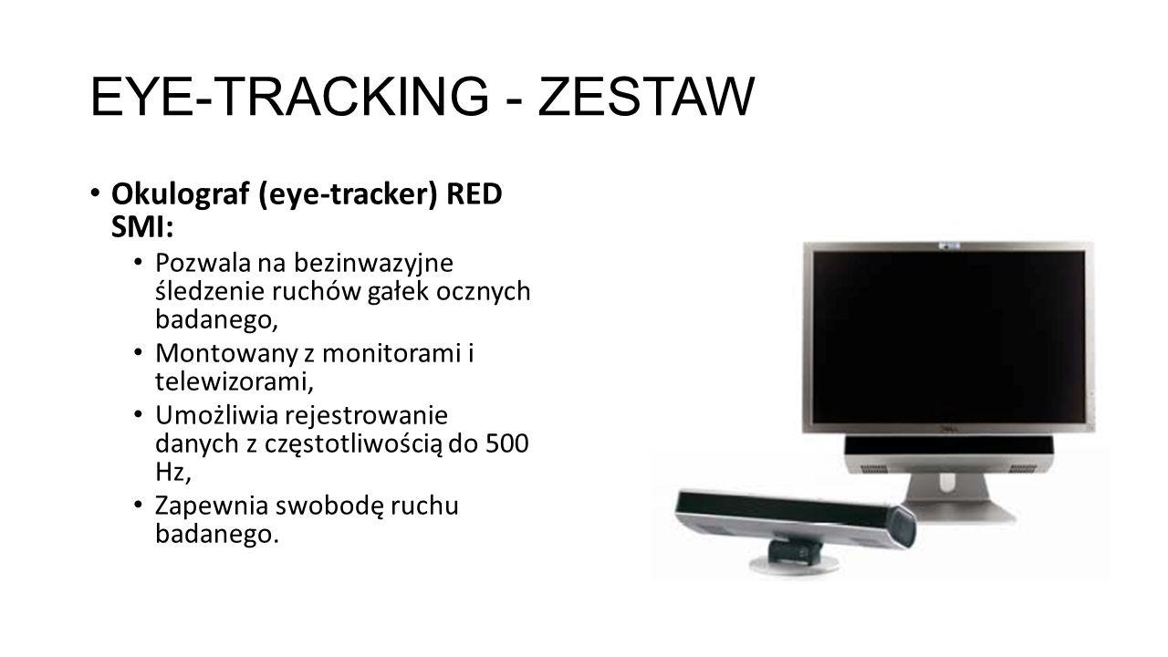 EYE-TRACKING - ZESTAW Okulograf (eye-tracker) RED SMI: Pozwala na bezinwazyjne śledzenie ruchów gałek ocznych badanego, Montowany z monitorami i telew