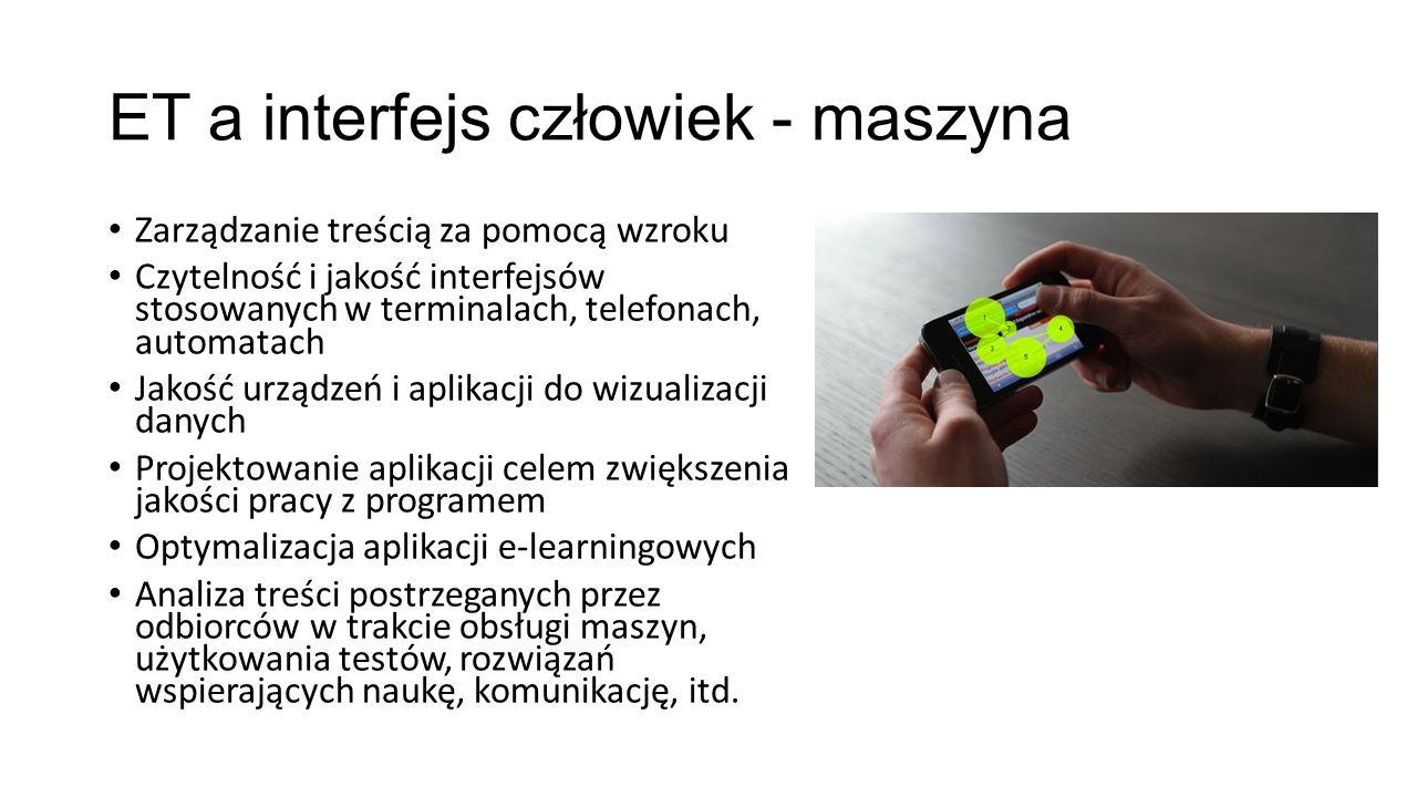 ET a interfejs człowiek - maszyna Zarządzanie treścią za pomocą wzroku Czytelność i jakość interfejsów stosowanych w terminalach, telefonach, automata