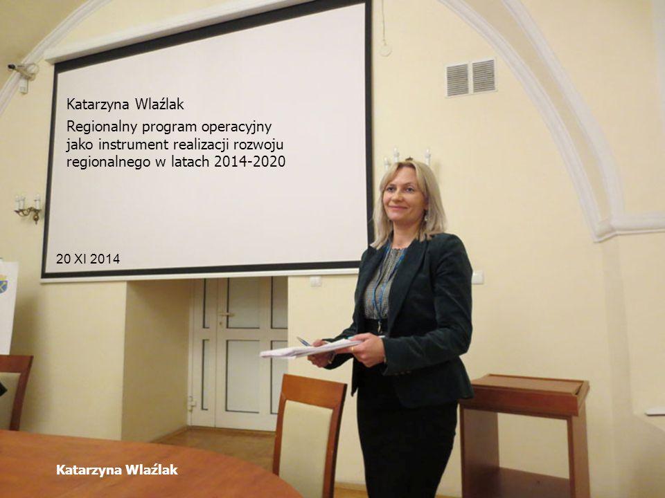 Katarzyna Wlaźlak 20 XI 2014 Katarzyna Wlaźlak Regionalny program operacyjny jako instrument realizacji rozwoju regionalnego w latach 2014-2020