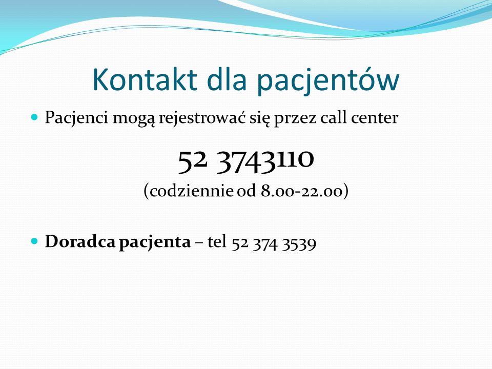 Kontakt dla pacjentów Pacjenci mogą rejestrować się przez call center 52 3743110 (codziennie od 8.00-22.00) Doradca pacjenta – tel 52 374 3539