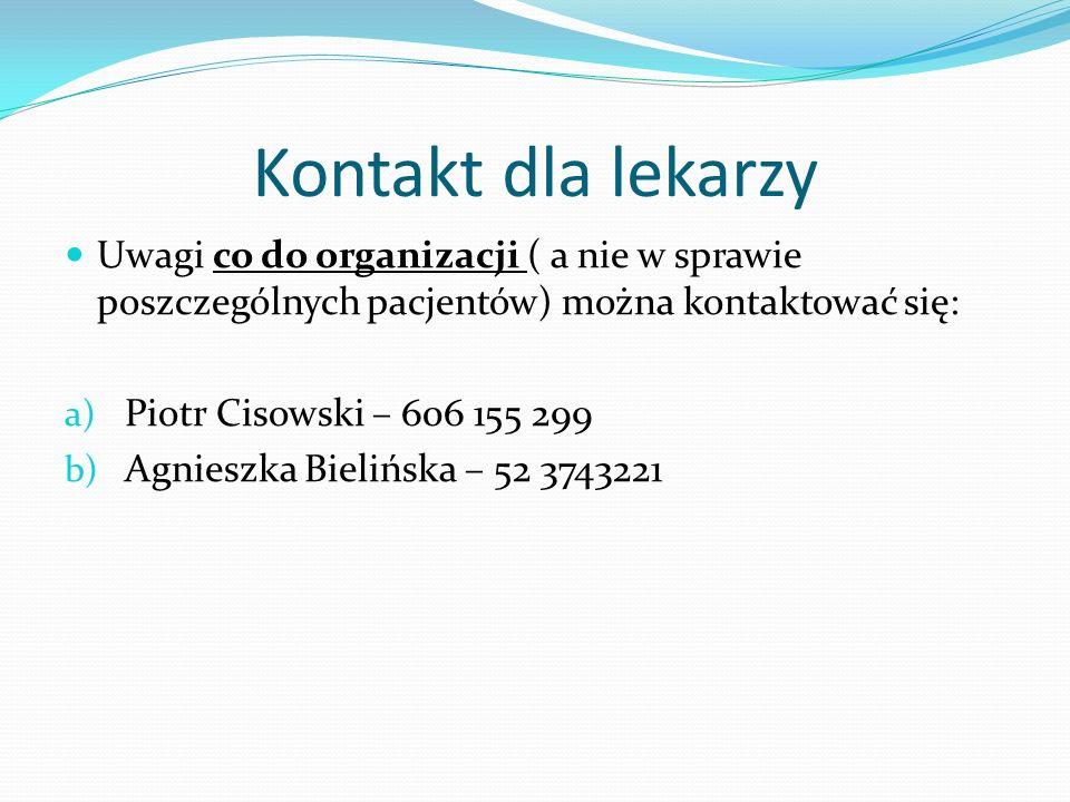 Kontakt dla lekarzy Uwagi co do organizacji ( a nie w sprawie poszczególnych pacjentów) można kontaktować się: a) Piotr Cisowski – 606 155 299 b) Agni
