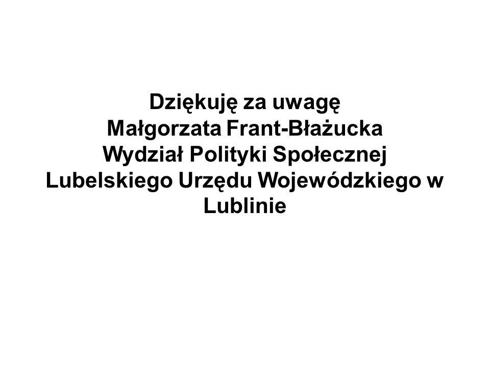 Dziękuję za uwagę Małgorzata Frant-Błażucka Wydział Polityki Społecznej Lubelskiego Urzędu Wojewódzkiego w Lublinie