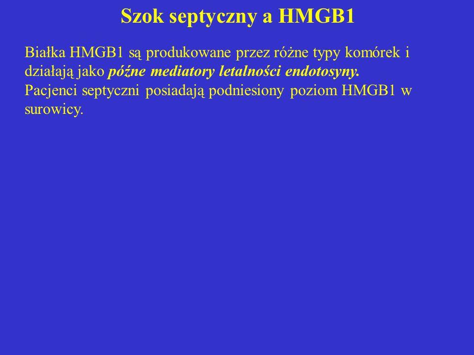 Białka HMGB1 są produkowane przez różne typy komórek i działają jako późne mediatory letalności endotosyny. Pacjenci septyczni posiadają podniesiony p