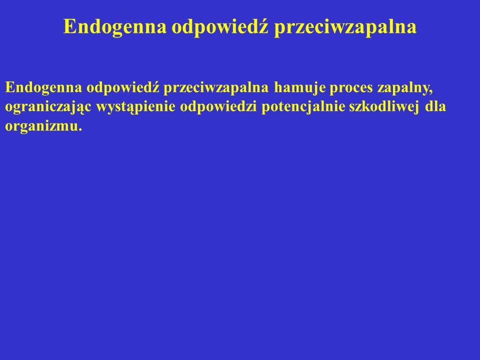 Endogenna odpowiedź przeciwzapalna Endogenna odpowiedź przeciwzapalna hamuje proces zapalny, ograniczając wystąpienie odpowiedzi potencjalnie szkodliw