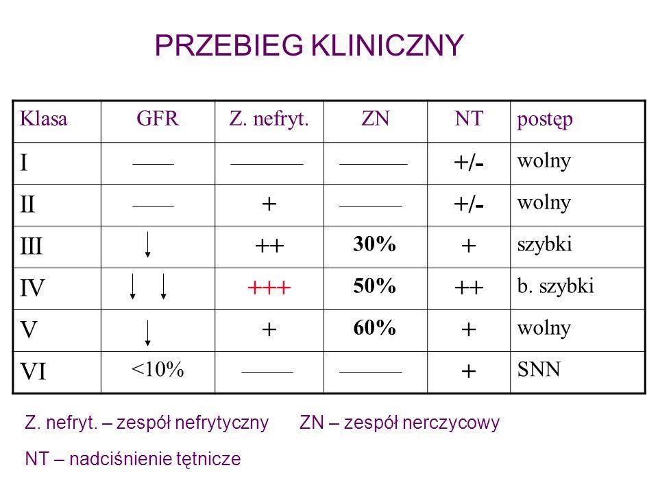 KlasaGFRZ. nefryt.ZNNTpostęp I+/- wolny II++/- wolny III++ 30% + szybki IV+++ 50% ++ b. szybki V+ 60% + wolny VI <10% + SNN PRZEBIEG KLINICZNY Z. nefr