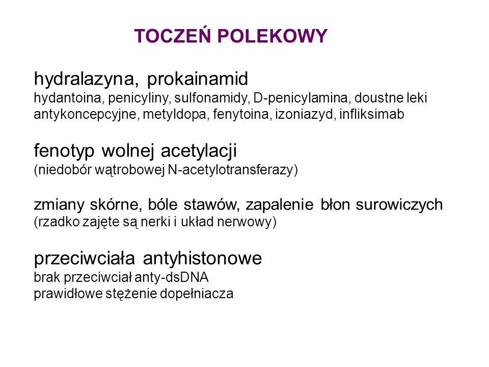 hydralazyna, prokainamid hydantoina, penicyliny, sulfonamidy, D-penicylamina, doustne leki antykoncepcyjne, metyldopa, fenytoina, izoniazyd, infliksim