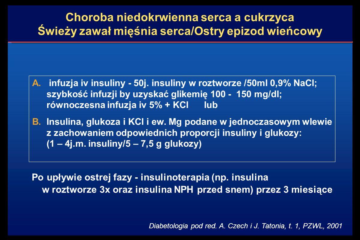 Po upływie ostrej fazy - insulinoterapia (np.