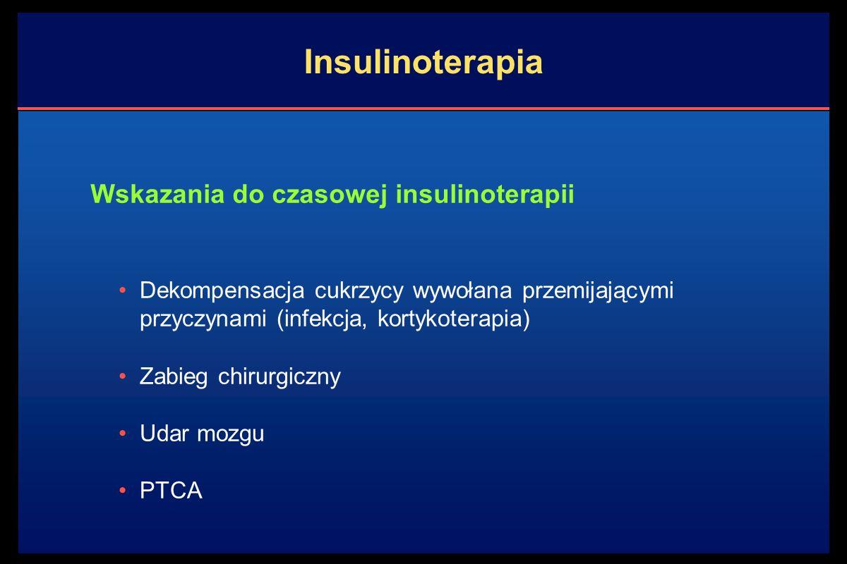 Terapia skojarzona cukrzycy typu 2: insulina + doustne leki przeciwcukrzycowe Terapia skojarzona oferuje: - poprawę kontroli glikemii przy zastosowaniu mniejszej dawki insuliny - mniejszy przyrost masy ciała - mniejszą skłonność do hipoglikemii Monoterapia insuliną jest mniej korzystna: - wymaga wielokrotnych wstrzyknięć - sprzyja szybkiemu przyrostowi masy ciała - może powodować stany hipoglikemii