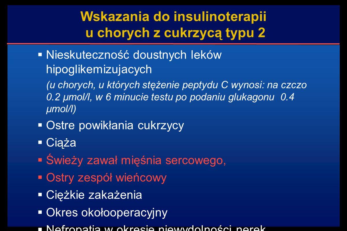 Wskazania do insulinoterapii u chorych z cukrzycą typu 2  Nieskuteczność doustnych leków hipoglikemizujacych (u chorych, u których stężenie peptydu C wynosi: na czczo 0.2 µmol/l, w 6 minucie testu po podaniu glukagonu 0.4 µmol/l)  Ostre powikłania cukrzycy  Ciąża  Świeży zawał mięśnia sercowego,  Ostry zespół wieńcowy  Ciężkie zakażenia  Okres okołooperacyjny  Nefropatia w okresie niewydolności nerek