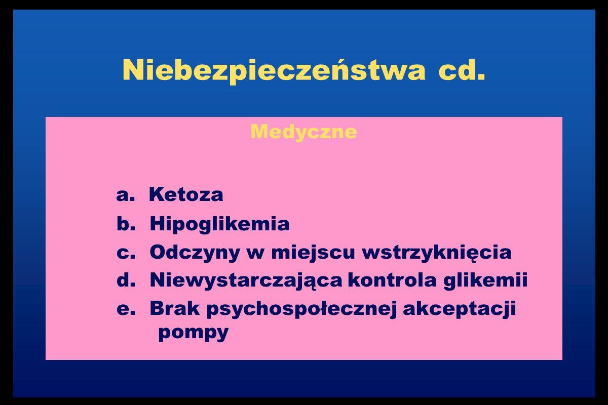 Niebezpieczeństwa cd. Medyczne a. Ketoza b. Hipoglikemia c.